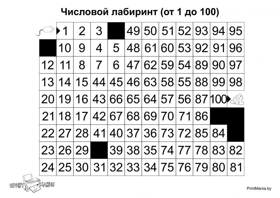 Числовой лабиринт до 100