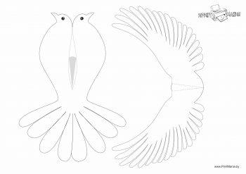 Объемный голубь из бумаги - шаблон