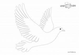 Летящий голубь - трафарет (шаблон)