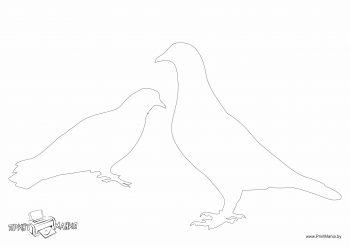 Трафарет со стоящими голубями