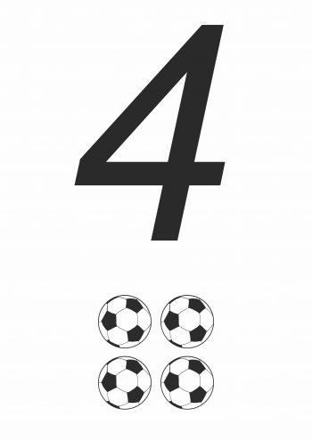 Карточка с цифрой 4 - для распечатки
