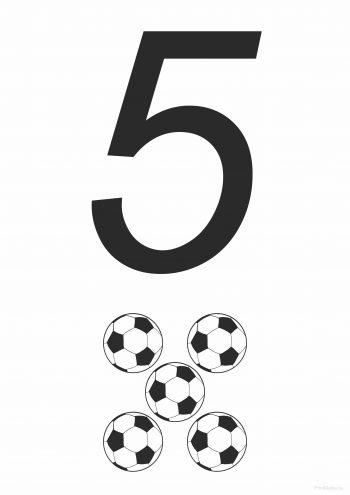 Цифра 5 - развивающая карточка для распечатки