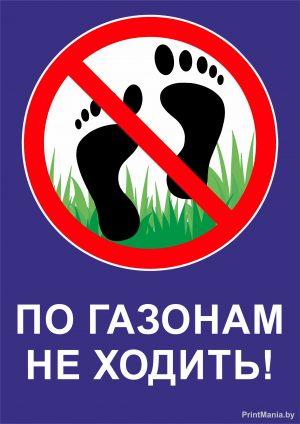 """""""По газонам не ходить"""" - синяя табличка"""
