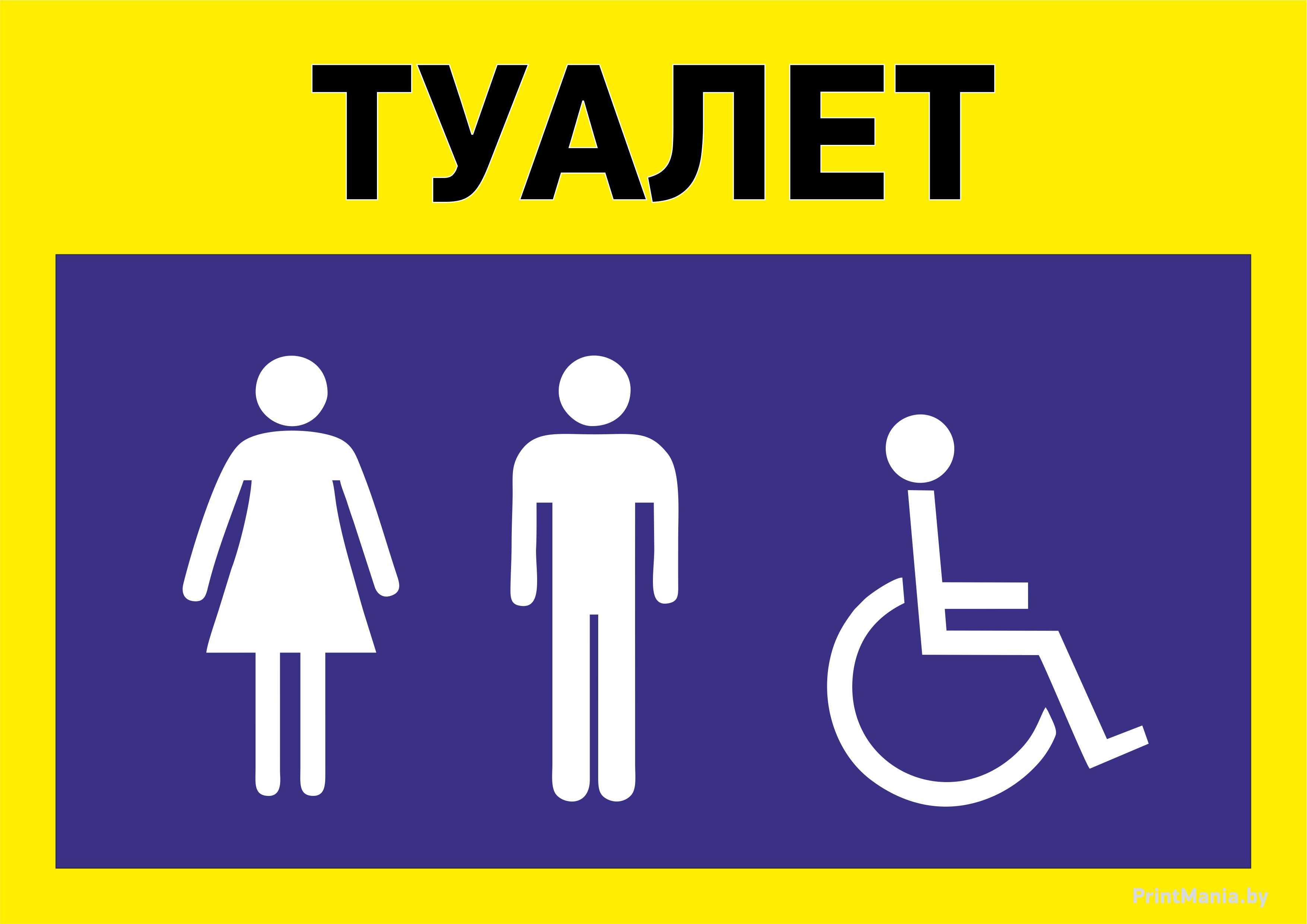 """Табличка с надписью """"Туалет"""" и значками"""