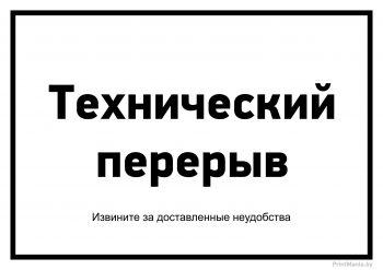 """Черно-белая табличка """"Технический перерыв"""""""
