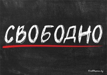 "Табличка ""Свободно"" черная, формат А4"