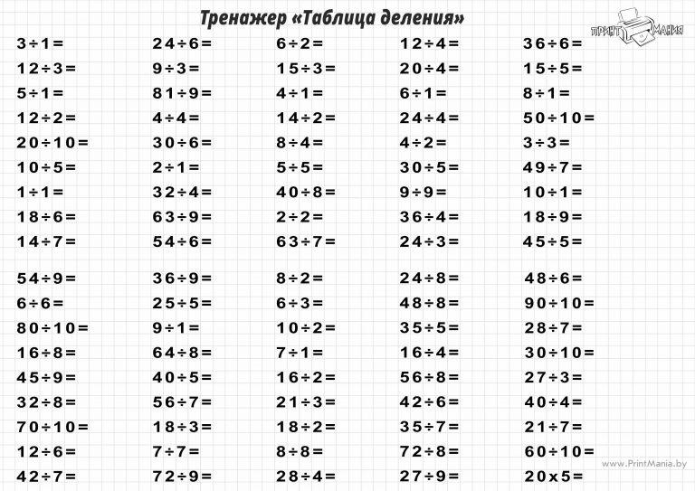 Таблица деления - тренажер