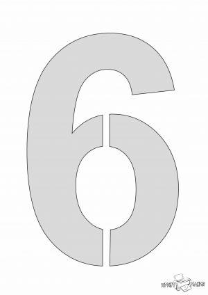 Цифра 6 - трафарет